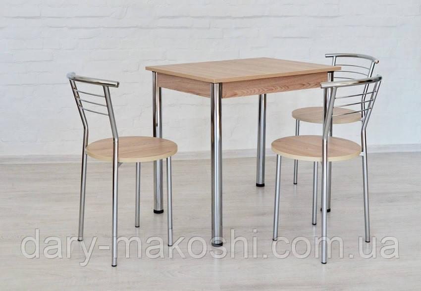 Обеденный комплект Тавол Ретта (стол нераскладной + 3 стула) 80смх60смх75см ножки хром Ясень