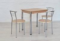Обеденный комплект Тавол Ретта (стол нераскладной + 3 стула) 80смх60смх75см ножки хром Ясень, фото 1