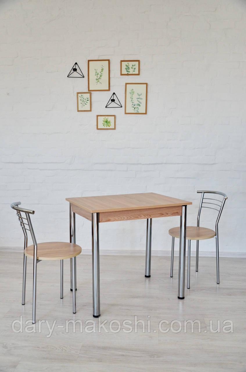 Обеденный комплект Тавол Ретта (стол нераскладной + 2 стула) 80смх60смх75см ножки хром Ясень