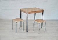 Кухонный набор Тавол Ретта (не раскладной стол+2 табурета) ножки хром Ясень, фото 1