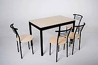 Комплект Тавол Видрис Б (Стол+4 стула) 110смх65смх75см металл черный Молочный, фото 1