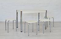 Комплект Тавол Видрис Б (Стол+4 табурета) 110смх65смх75см металл хром Белый, фото 1