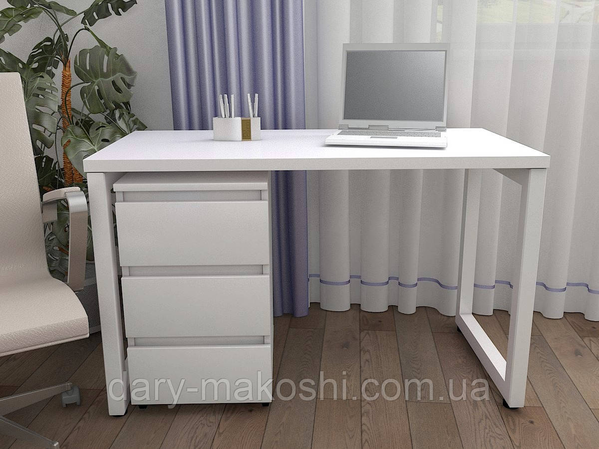Стол Тавол КС 8.3 с мобильной тумбой металл опоры белые 120смх60смх75см ДСП 32 мм Белый