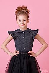 Блузка школьная черная в мелкий белый горошек с рукавчиком-крылышками, Зиронька, размер 140