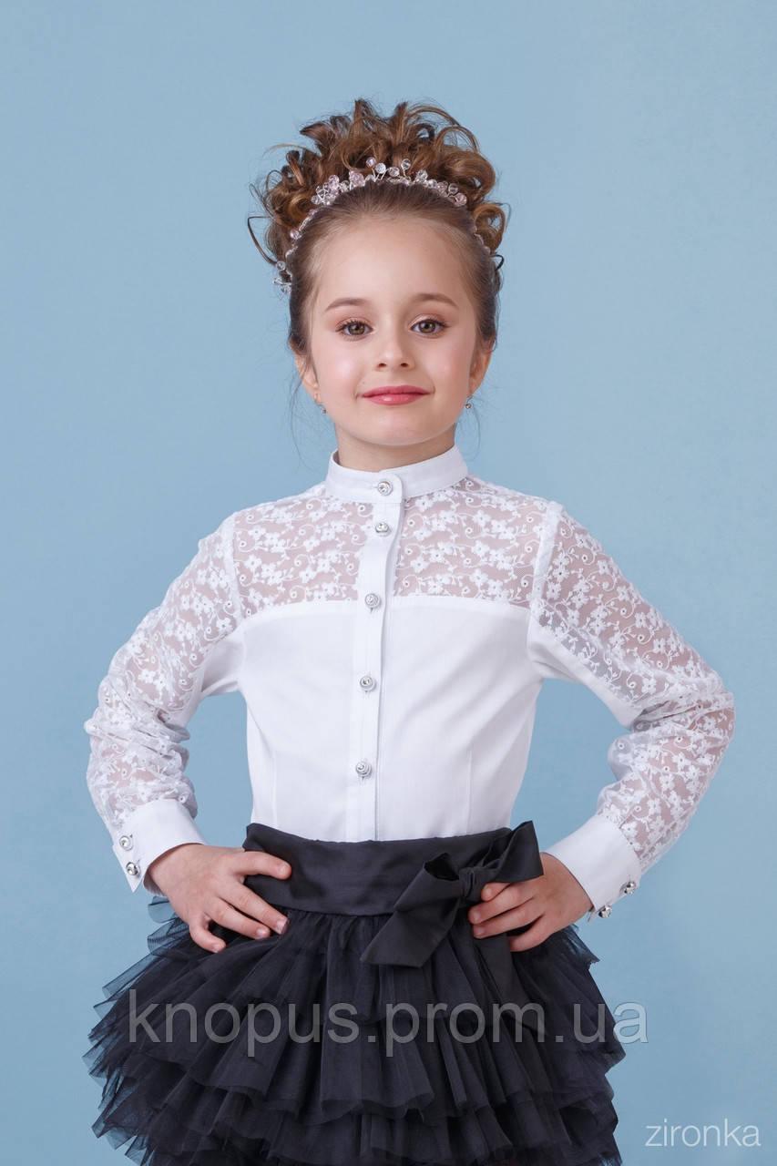 Нарядная школьная белая блузка с длинным рукавом, хлопок с гипюром,  Зиронька, размер 140