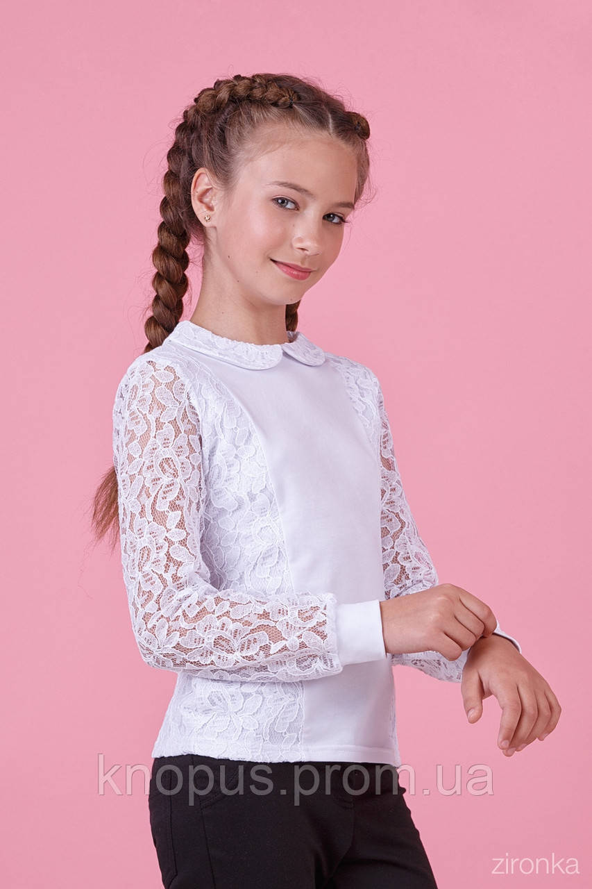 Нарядная школьная белая блузка для девочки с длинным рукавом, трикотаж с гипюром, Зиронька,  размеры 122, 146