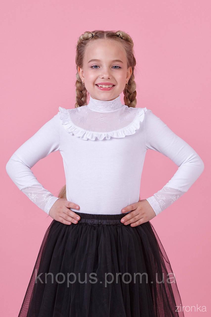 Нарядная школьная белая кофта для девочки с длинным рукавом, Зиронька, размеры 122-134, 158, 164