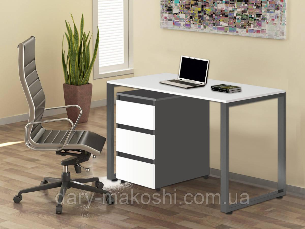 Стол Тавол Loft КС 8.1 с мобильной тумбой металл опоры черные 120смх60смх75см ДСП Черно Белый