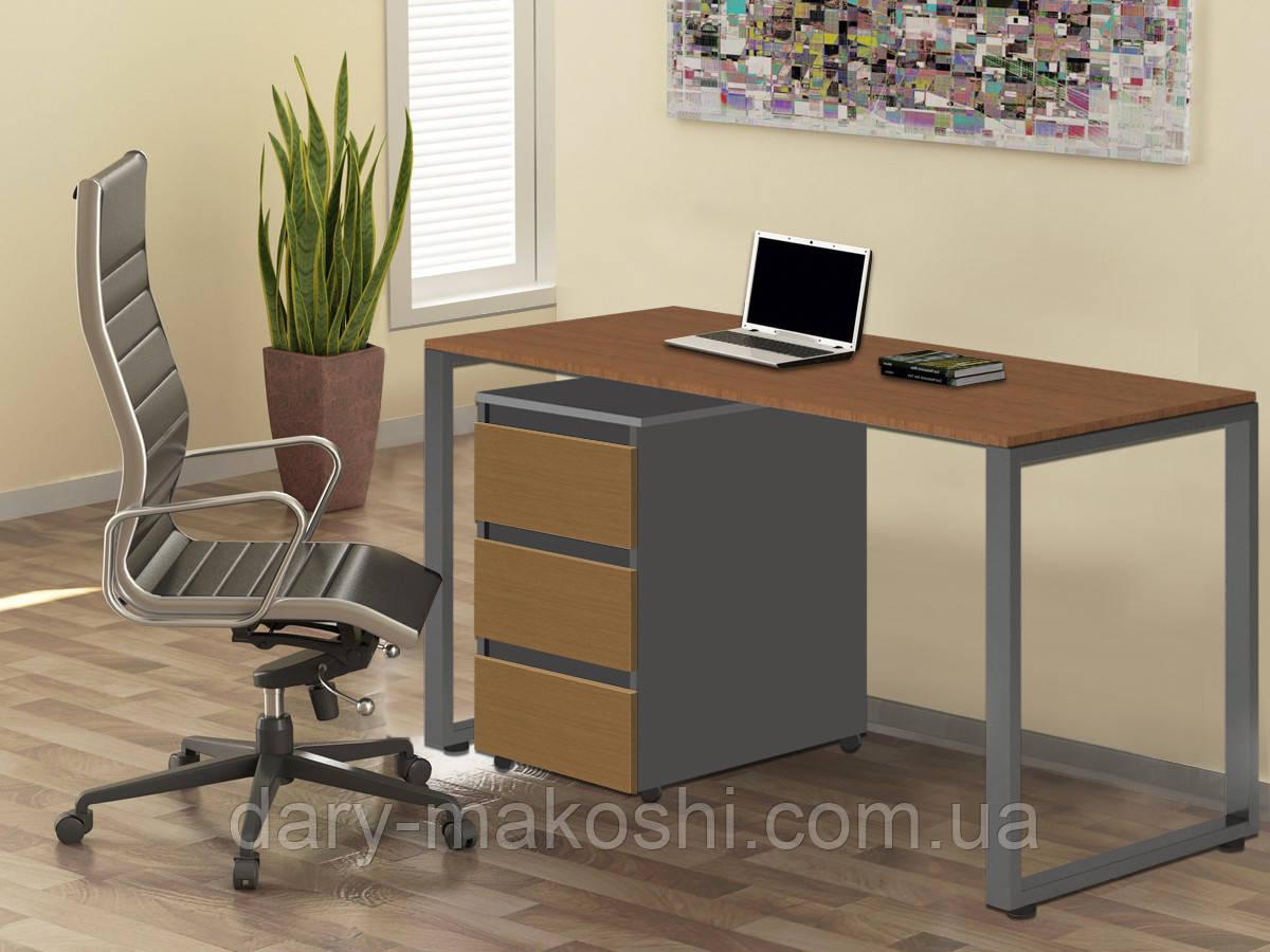 Стол Тавол Loft КС 8.1 с мобильной тумбой металл опоры черные 140смх60смх75см ДСП Орех