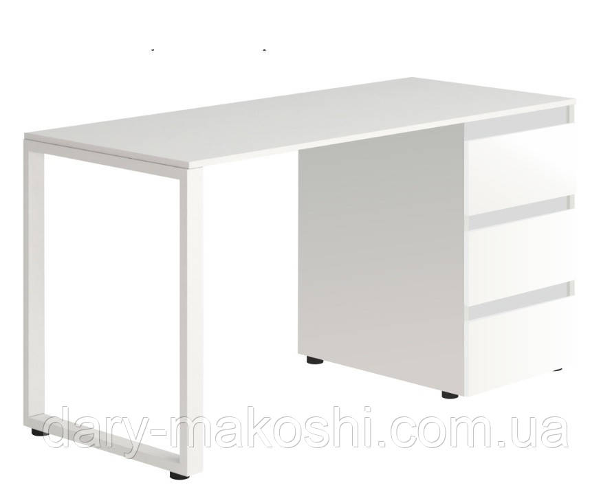Стол Тавол Loft КС 8.1 со стационарной тумбой металл опоры черные 120смх60смх75см ДСП Белый