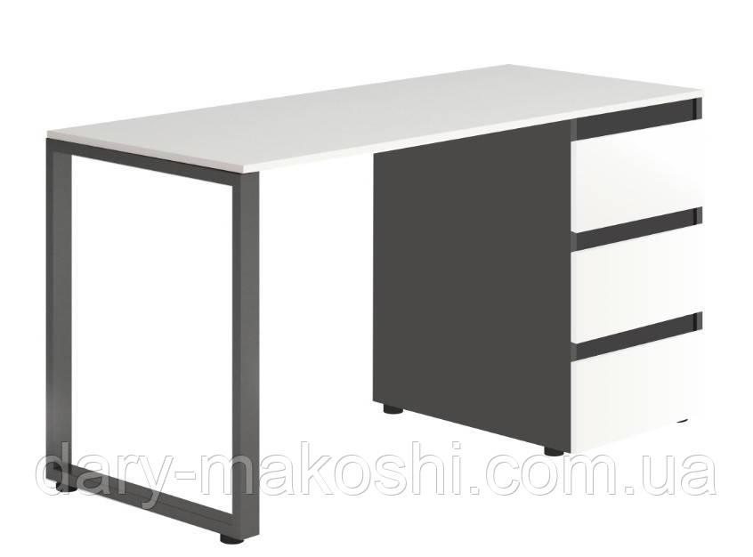 Стол Тавол Loft КС 8.1 со стационарной тумбой металл опоры черные 140смх60смх75см ДСП Черно Белый