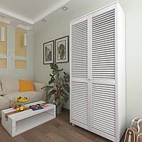 Шкаф с жалюзийными дверями из натурального дерева Тавол Сиеко 5ПОЛ 900х450х2080 Белый