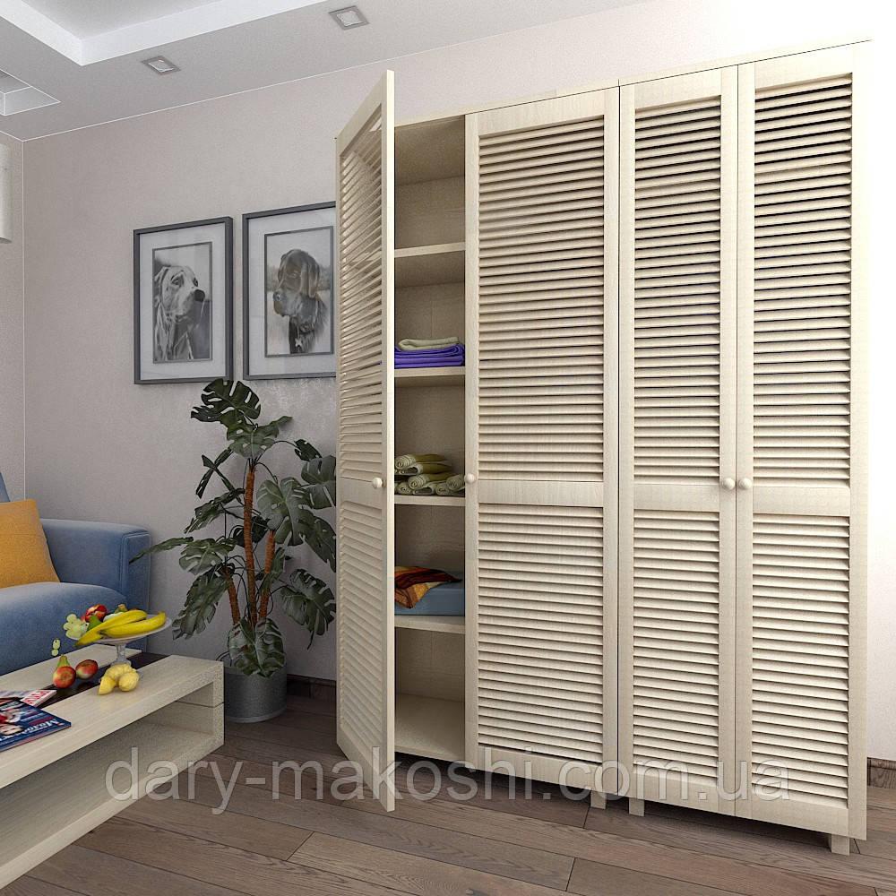 Шкаф с жалюзийными дверями из натурального дерева Тавол Сиеко 4Д5ПОЛ 1500х450х2080 Молочный