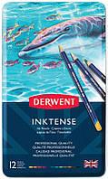 Набор чернильных карандашей Inktense, 12 цветов, В металл. коробке, Derwent