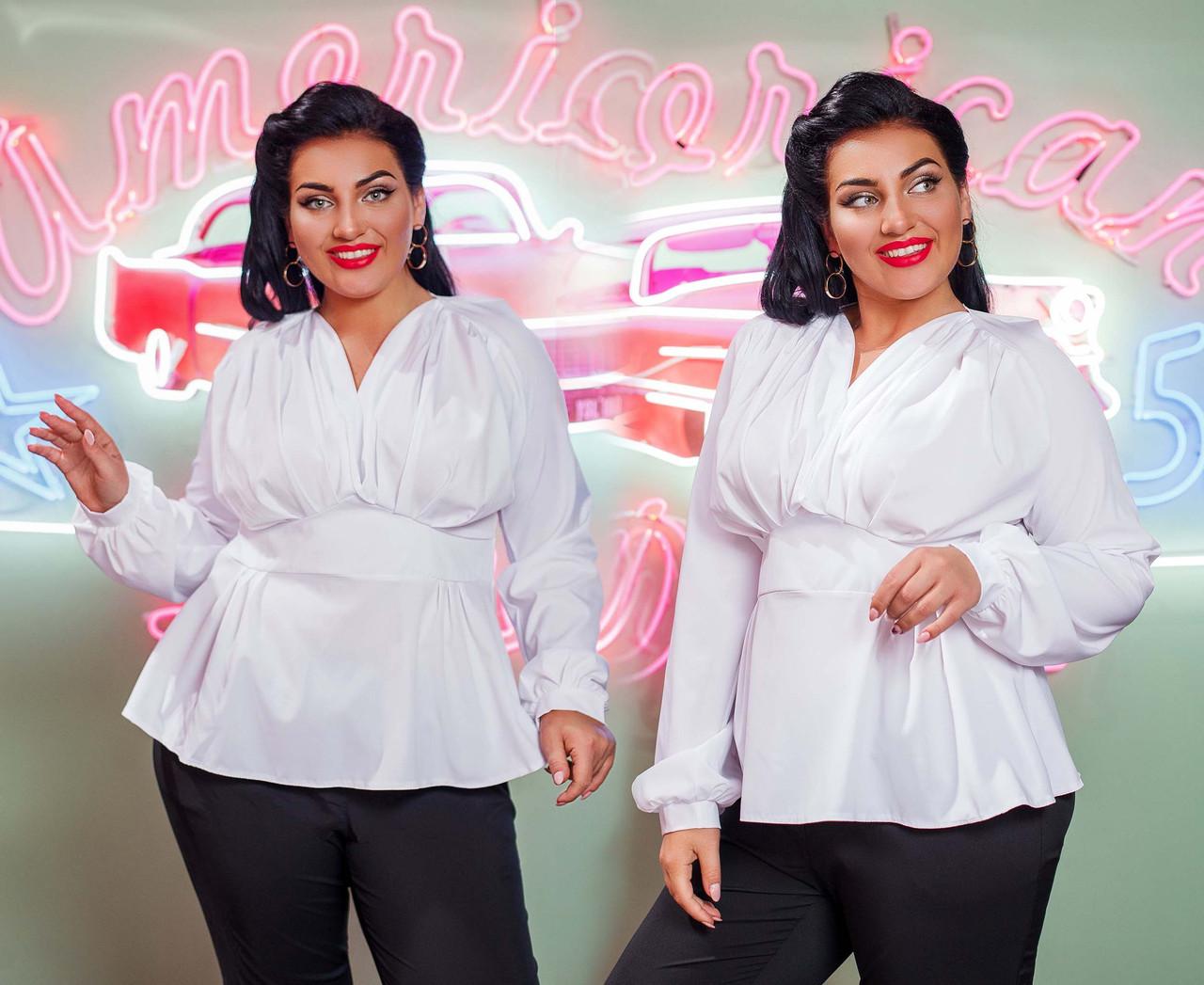 """Стильна ошатна жіноча блузка у великих розмірах 0391 """"Софт Баска Драпірування Кокетка"""" в кольорах"""