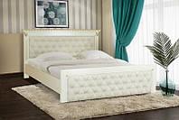 Деревянная кровать Ривьера под матрас 160 х 200, материал массив дуб, цвет слоновая кость + золотая патина