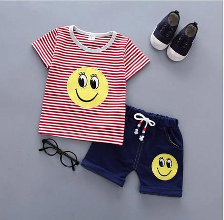 Летний костюм на мальчика  футбока +шорты  3-4 годам Смайл красный в полоску, фото 2