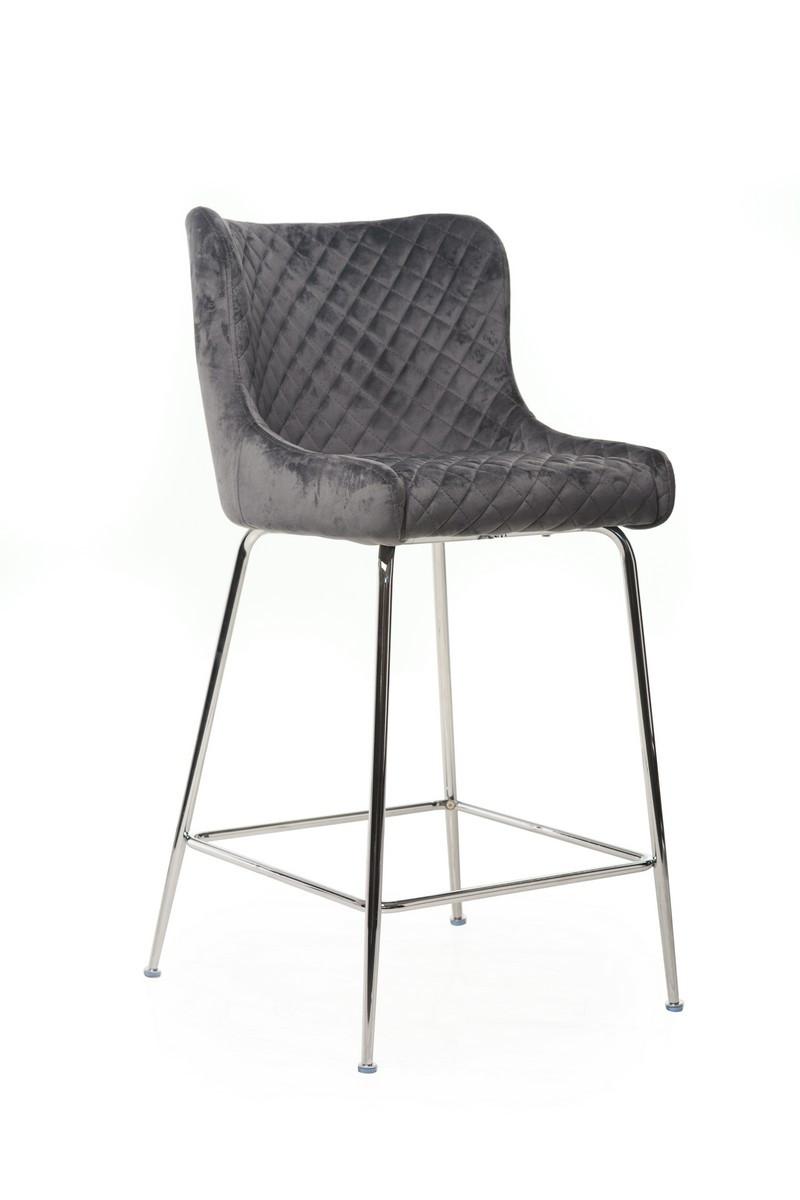 Барный стул B-120-1 (серый+хром)