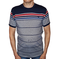 Футболка мужская серо-синяя с полосками короткий рукав