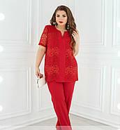 / Размер 56,58,60,62 / Женский брючный костюм-двойка / 353-Красный, фото 3