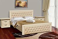 Деревянная кровать Фридом под матрас 180 х 200, материал массив дуб, цвет слоновая кость + золотая патина