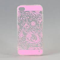 Чехол прозрачный из высококачественного силикона для Iphone 4/4S Pink Print