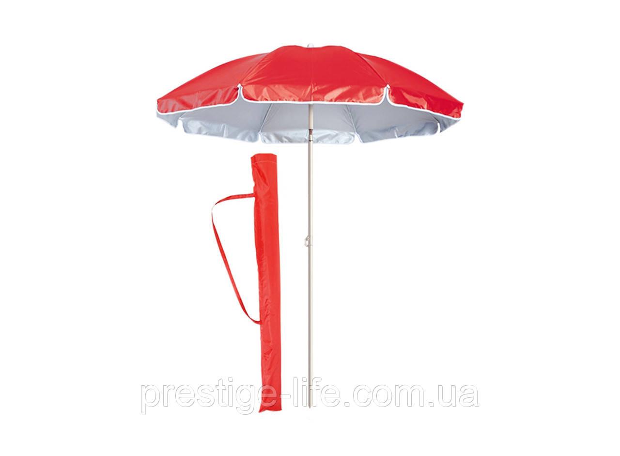 Зонт диаметром 1,7 м. Система ромашка. Серебренное покрытие. Красный
