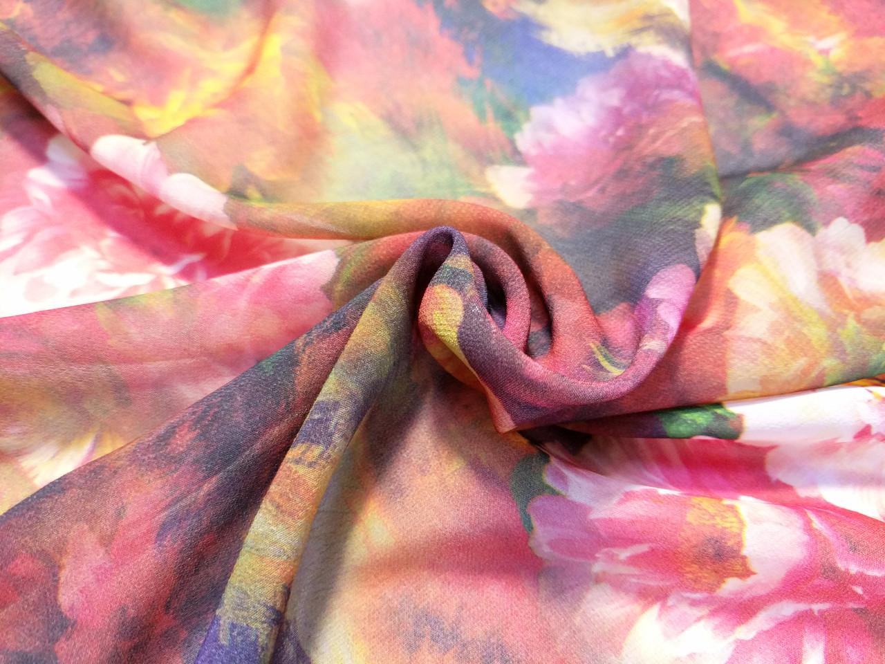 Шифон рисунок розовые пионы