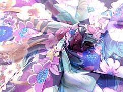 Шифон рисунок летний букет, лилово-сиреневый