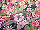 Шифон рисунок летний букет, розово-зеленый, фото 2