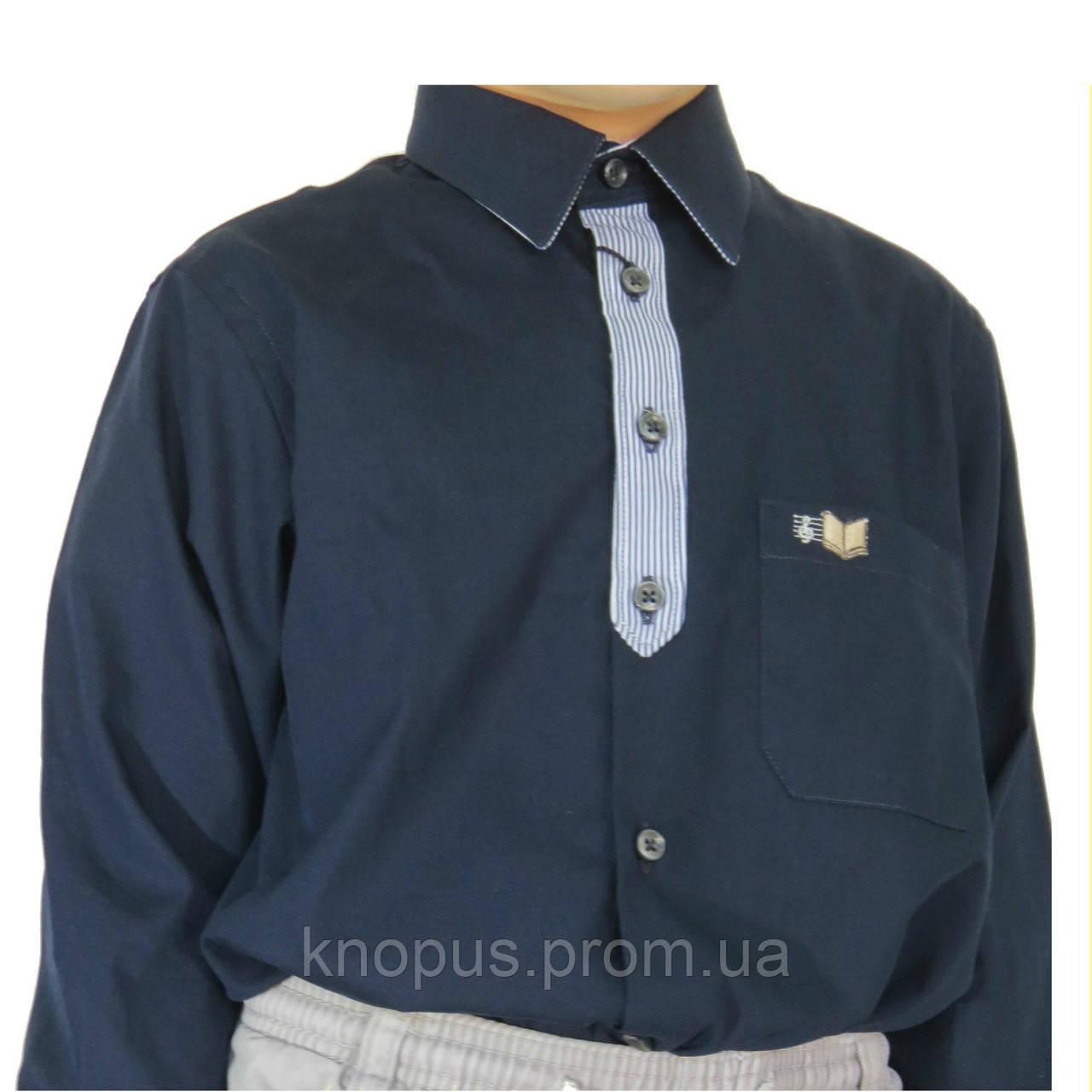 Рубашка для мальчика синяя с декоративной планкой и вышивкой на кармане, Davanti, Украина. На  6-18 лет.