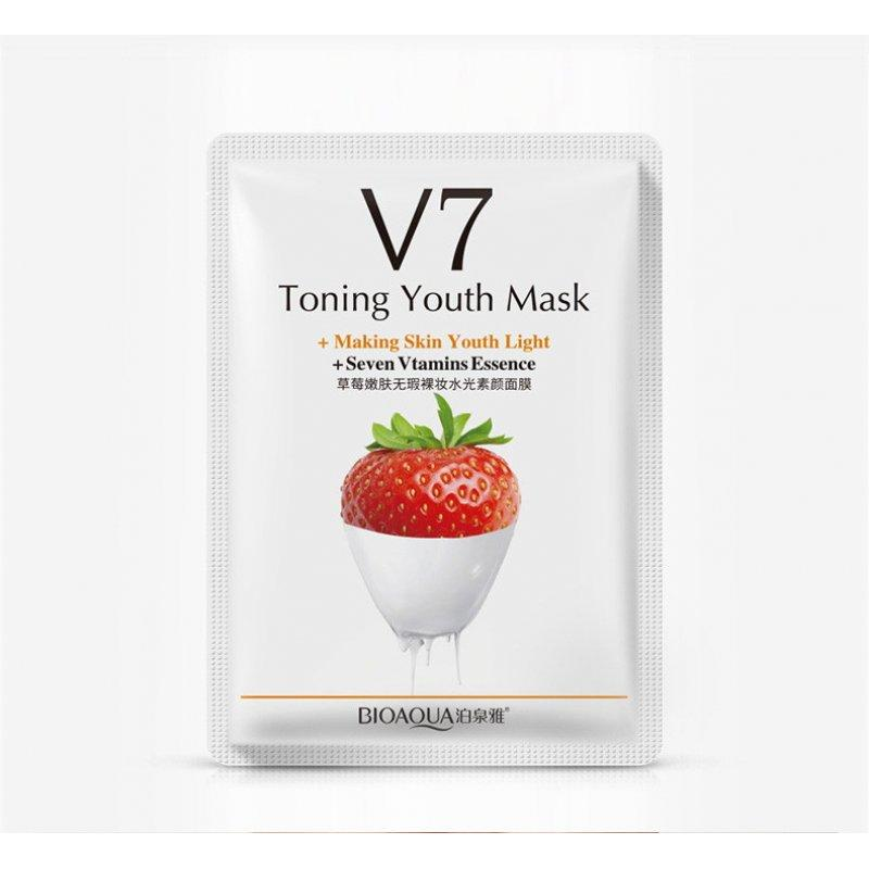Тканевая витаминная маска с клубникой BIOAQUA V7 Toning Youth Mask (30г)