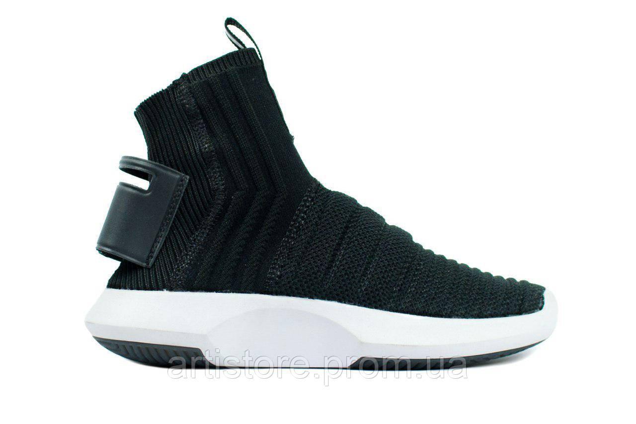 Кроссовки Adidas Crazy 1 ADV Primeknit Sock Black with white Черные с белым