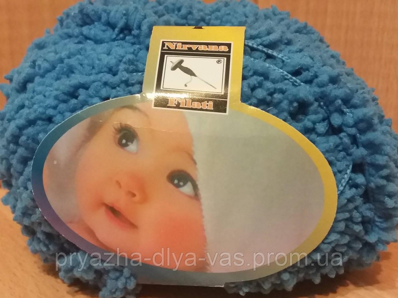 Детская махровая пряжа Filati Baby (100% микрополиэстер 50г/75м) Синий