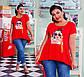 """Женская стильная футболка-туника в больших размерах 41306 """"Ассиметрия Нашивка Фотопринт"""", фото 2"""