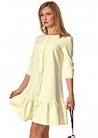 Женское свободное платье желтого цвета. Модель 1148. Размеры 42-50