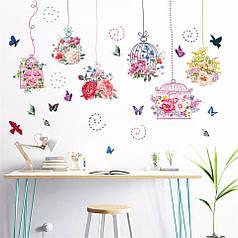 "Наклейка на стену, наклейка цветок, наклейки на шкаф ""6 клеток с цветами"" 107см*150см (лист 60*90см)"