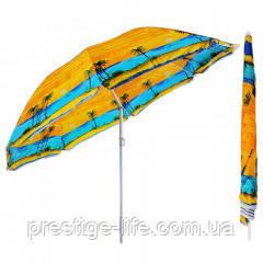 Зонт диаметром 2 м серебренное покрытие с уклоном. Цвет: Пальмы, фон Оранжевый