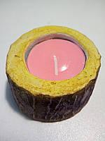 """Підсвічник декоративний під свічку - таблетку """"Пеньок-міні"""" Темне дерево-2"""