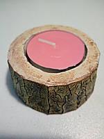 """Підсвічник декоративний під свічку - таблетку """"Пеньок-міні"""" Дерево"""