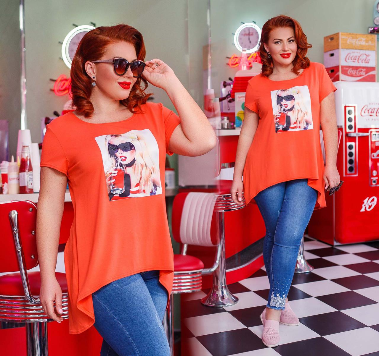 """Женская стильная футболка-туника в больших размерах 41304 """"Ассиметрия Нашивка Фотопринт"""""""