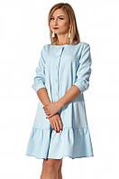 Женское свободное платье голубого цвета. Модель 1148. Размеры 42-50