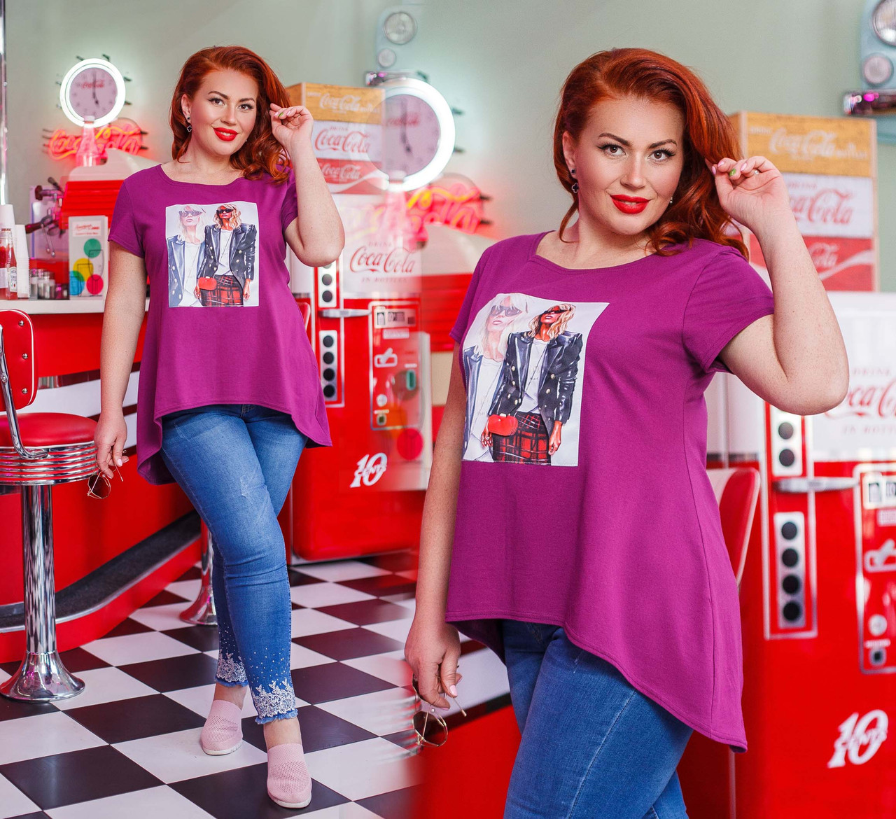 """Женская стильная футболка-туника в больших размерах 41305 """"Ассиметрия Нашивка Фотопринт"""""""