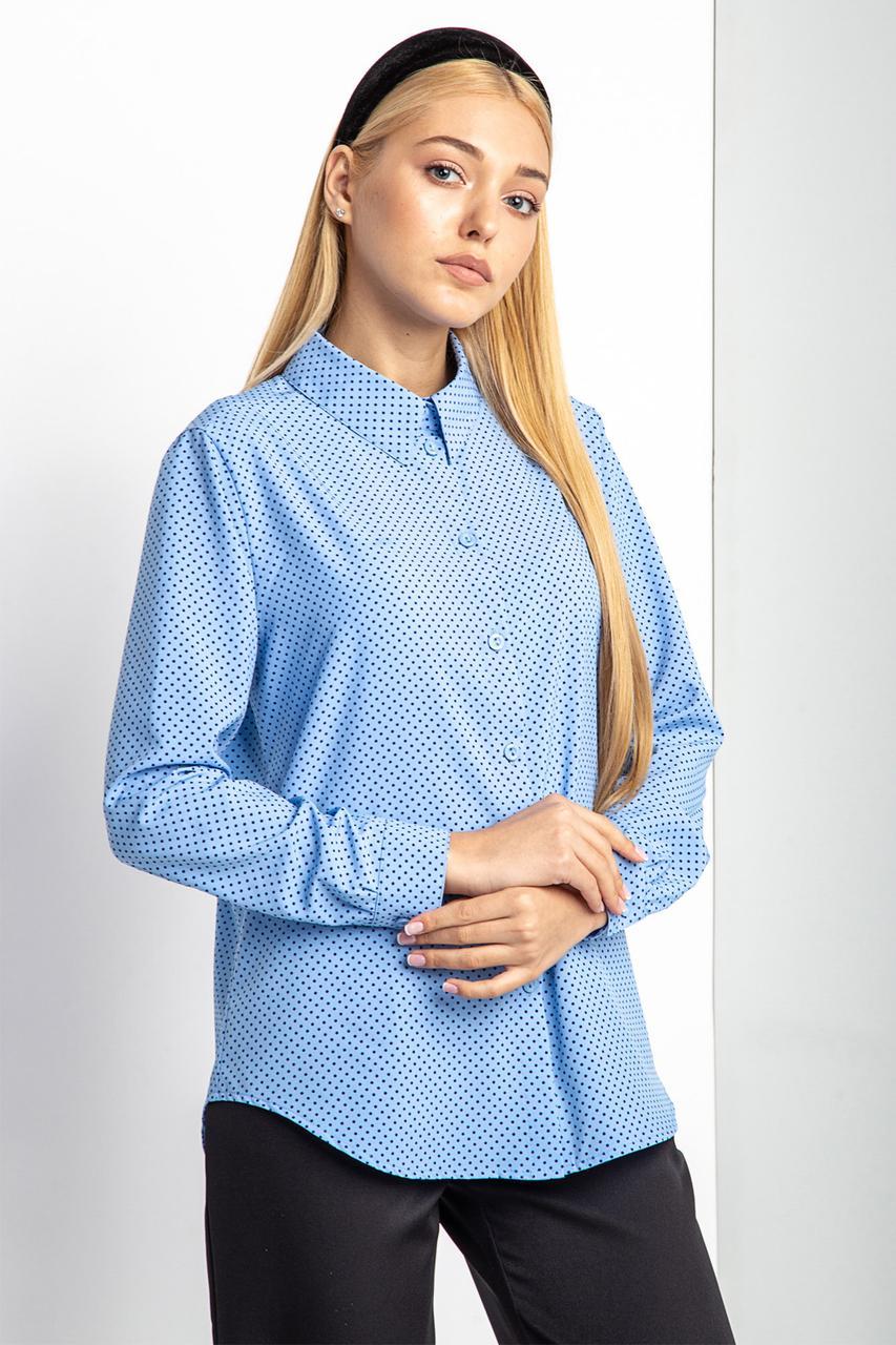 c4c8b336a7937ff Голубая рубашка RISA в горошек с длинным рукавом и асимметричным низом