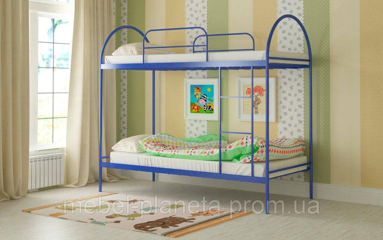 """Кровать детская двухъярусная """"Сеона"""" Мадера, металлические кровати, кровать для подростка"""
