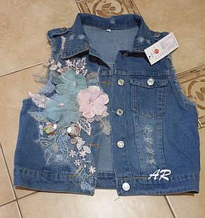 Шикарная джинсовая жилетка с аппликацией, размер 42-44, 46-48, фото 2