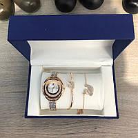 Женский подарочный набор Swarovski Bracelet/Watch/Suspension Gold