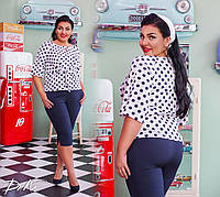 Костюм женский  блуза в горох  с бриджами 50/52, 54/56  Цвета -  на фото, фото 1