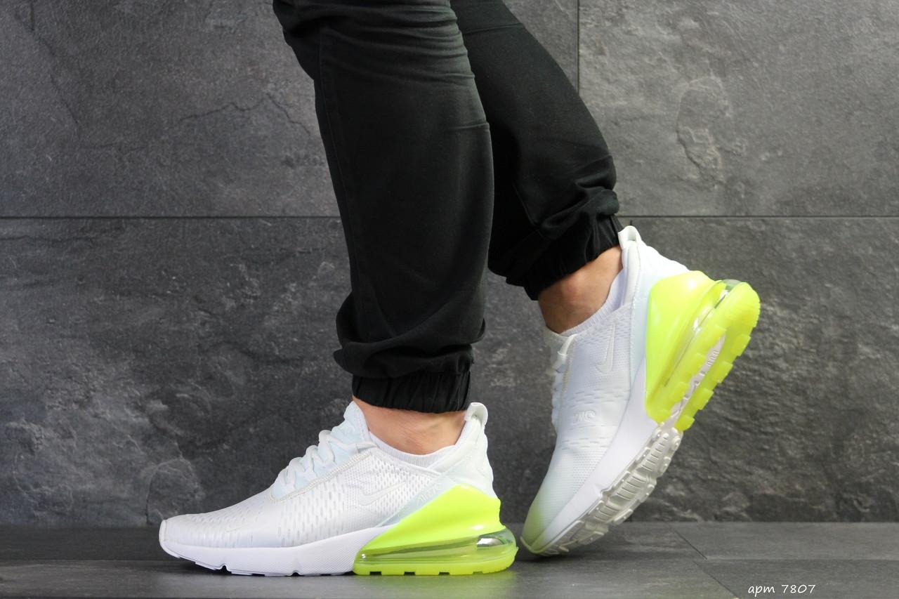 Мужские кроссовки Nike Air Max 270 (белые с желто-салатовым)