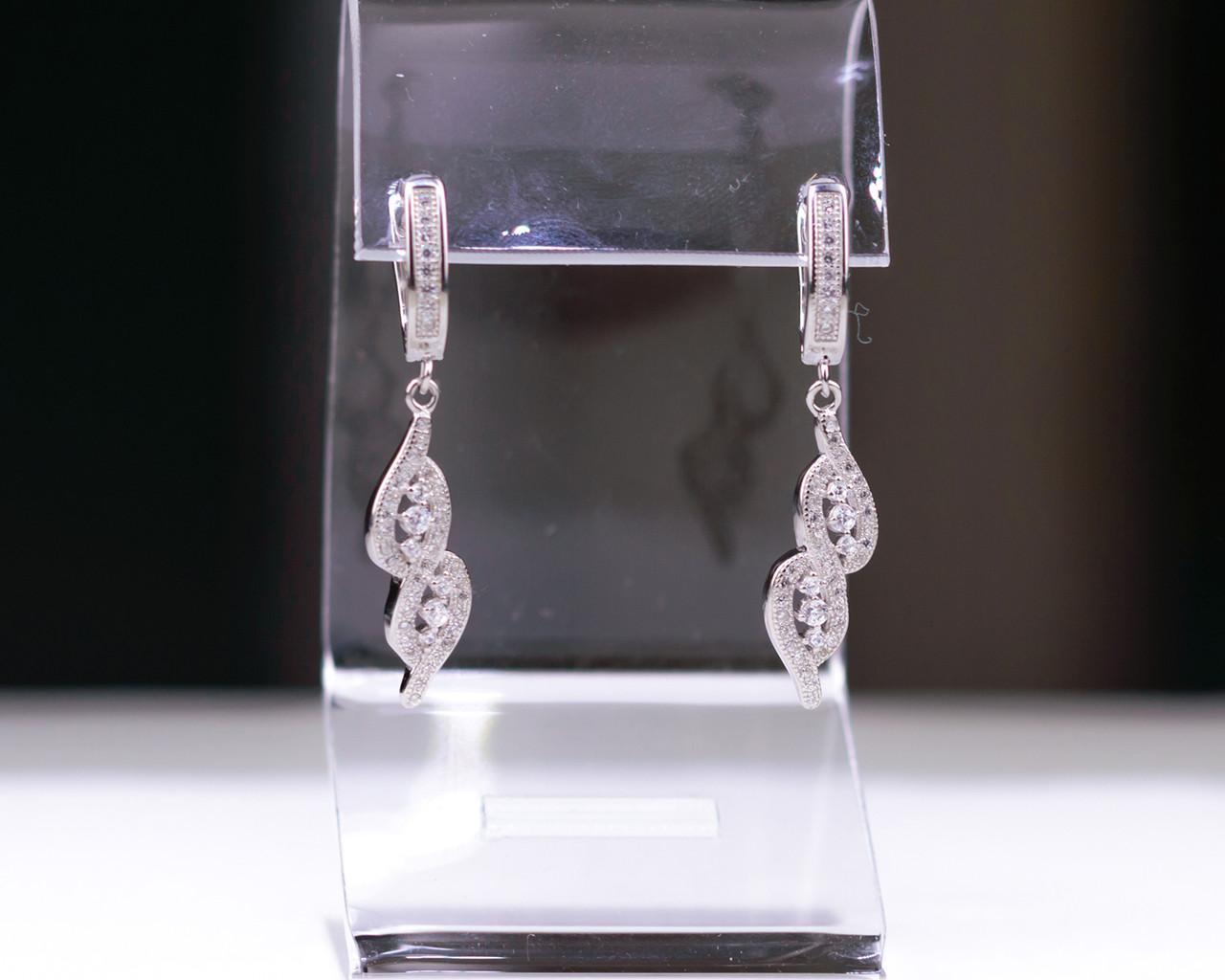 Серебряные серьги Бесконечность с фианитами серебро 925 пробы